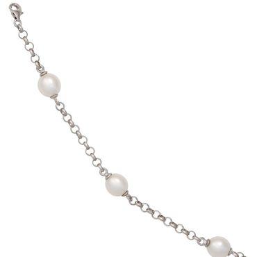 Armband 925 Sterling Silber rhodiniert 4 Süßwasser Perlen 19 cm Karabiner