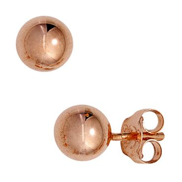 Kugel Ohrstecker 925 Sterling Silber rotvergoldet, Silberschmuck Ohrringe
