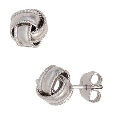 Ohrstecker Knoten 925 Sterling Silber rhodiniert, Ohrringe Silberschmuck