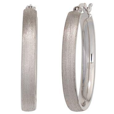 Creolen oval 925 Sterling Silber rhodiniert oval mattiert Ohrringe