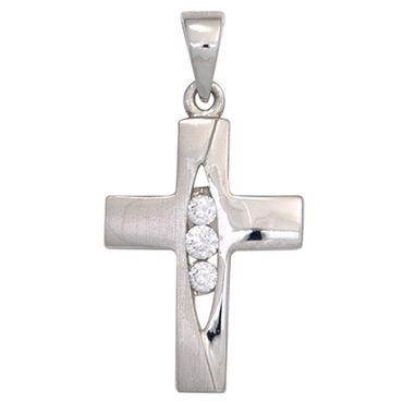 Anhänger kleines Kreuz mit 3 Zirkonia, 925 Sterling Silber rhodiniert teilmattiert, Kreuzanhänger