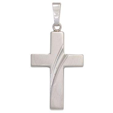 Anhänger Kreuz teilmattiert, 925 Sterling Silber rhodiniert, Kettenanhänger