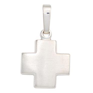Anhänger Kreuz 925 Sterling Silber rhodiniert mattiert, Kreuzanhänger Silberschmuck