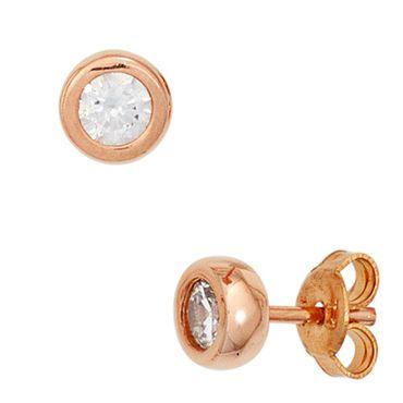 Ohrstecker 6 mm rund 925 Sterling Silber rotvergoldet 2 Zirkonia, roségold Ohrringe