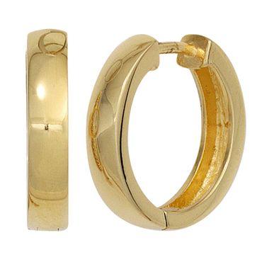 Creolen 18 mm, 925 Sterling Silber vergoldet Ohrringe Klappmechanik