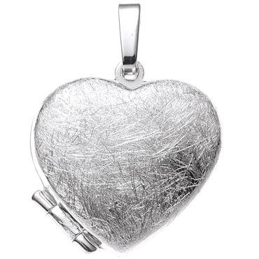 Anhänger Medaillon Herz 925 Sterling Silber rhodiniert eismatt, Medaillonanhänger