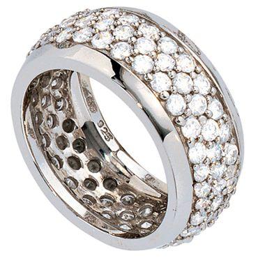 Breiter Ring mit rundum Zirkonia, 925 Sterling Silber Schmuck, Fingerring für Damen, Silberring