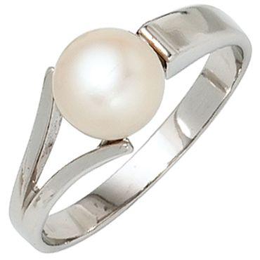Ring 925 Sterling Silber rhodiniert mit 1 Süßwasser Perle, Silberring, Perlenring