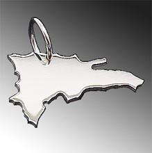 Anhänger Dominikanische Republik 925 Sterling Silber, Kettenanhänger Landkarte, Land Umriss