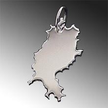 Anhänger Hessen 925 Sterling Silber, Kettenanhänger Landkarte, Land Umriss
