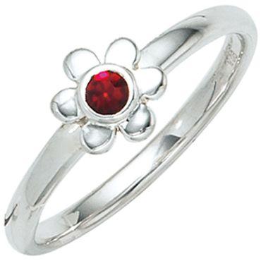 Kinder- Ring Blume, 925 Sterling Silber rhodiniert 1 roter Glasstein Silberring, Kinderring
