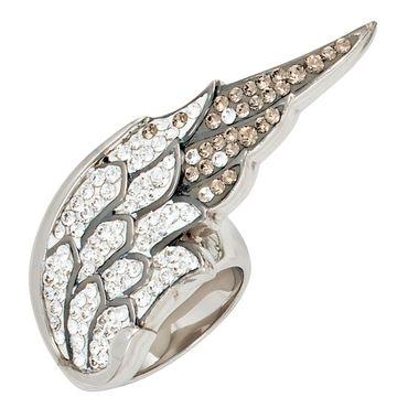 Ring Engelsflügel 925 Sterling Silber rhodiniert mit Swarovski-Elements, Damenring