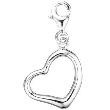 Einhänger Charm Anhänger Herz 925 Sterling Silber rhodiniert mit Karabiner