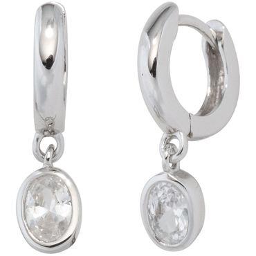 Creolen 925 Sterling Silber 2 weiße Zirkonia Ohrringe Ohrhänger Silberohrringe