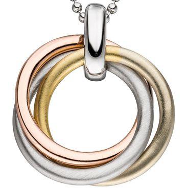Anhänger verschlungen 925 Sterling Silber gold vergoldet tricolor dreifarbig