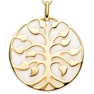 Anhänger Baum 925 Sterling Silber gold vergoldet mit Achat, Kettenanhänger