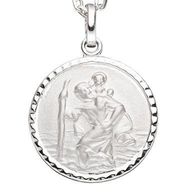 Anhänger Schutzpatron Christopherus rund 925 Sterling Silber mattiert, Kettenanhänger