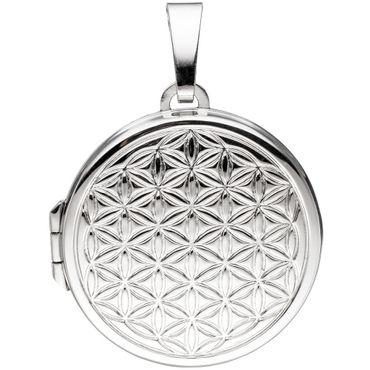 Medaillon rund Lebensblume, Blume des Lebens, 925 Sterling Silber rhodiniert