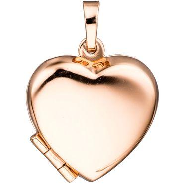 Medaillon Herz 925 Sterling Silber rotgold vergoldet zum Öffnen für 2 Fotos