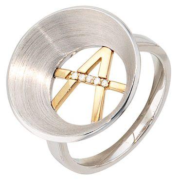 Damen Ring 925 Silber mit 585 Gold kombiniert mattiert 5 Diamanten Brillanten