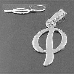Anhänger Buchstabe P, 925 Sterling Silber, Buchstabenanhänger