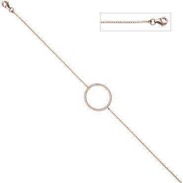 Armband 925 Sterling Silber rotgold vergoldet mit Zirkonia, 21 cm verkürzbar, Silberarmband