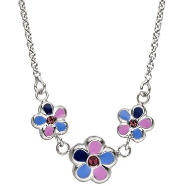 Kinder-Collier Halskette Blumen 925 Sterling Silber Schmuck, Kinderschmuck