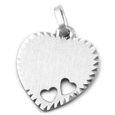 Anhänger Herz mit Gravurplatte, 925 Sterling Silber Schmuck, Kettenanhänger, Damen Schmuck Herz