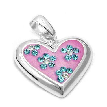 Anhänger rosa Herz, Kinderschmuck, 925 Sterling Silber Schmuck, Schmuck Herz mit  Zirkonia