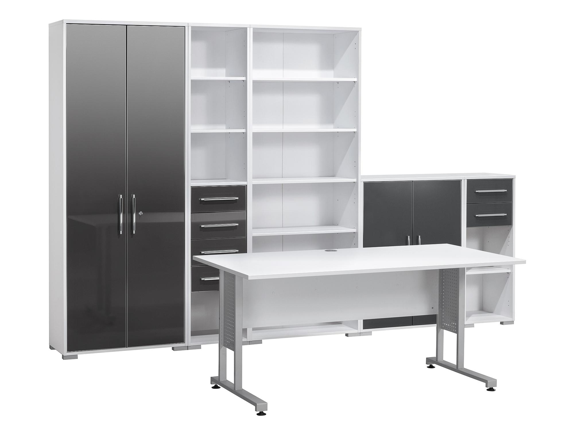 Maja Mobel Buromobel System Set 2 In Icy Weiss Grau Hochglanz
