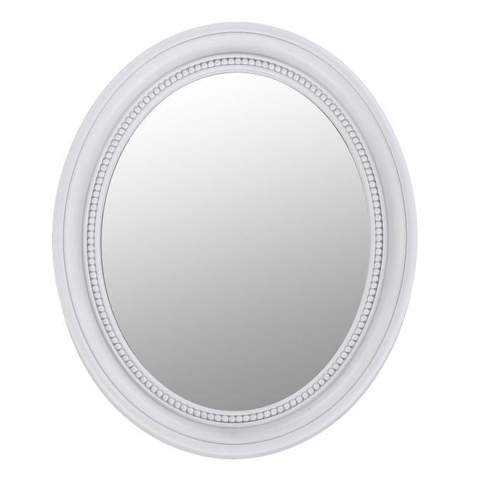 BHP Wand Spiegel Oval Bade Zimmer Barock Antik Rahmen Weiß