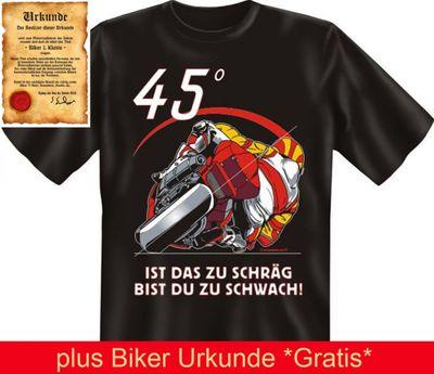 """T-Shirt für Motorrad Fahrer - 45° Ist das zu Schräg, bist du zu schwach - mit Gratis Biker Urkunde """" Biker 1. Klasse """" von Goodman Design® Bild 3"""