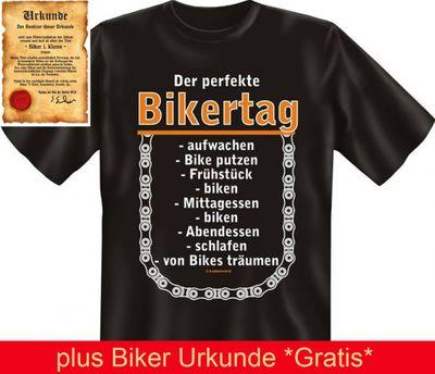 """T-Shirt für Motorrad Fahrer - Der perfkete Bikertag - mit Gratis Biker Urkunde """" Biker 1. Klasse """" von Goodman Design® Bild 3"""