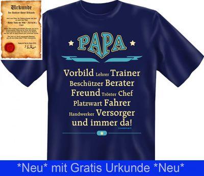 """T-Shirt für den Vater / Opa - Papa - Vorbild, Trainer, Freund, Chef, Fahrer, Versorger uvm. - Geschenk Vatertag - Inkl. Urkunde """"Bester Vater der Welt"""" Bild 3"""