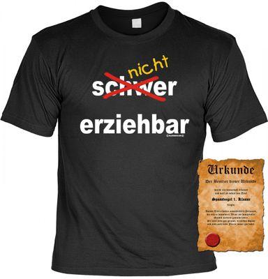 Lustiges Sprüche Shirt - Nicht erziehbar - Teenager T-shirt mit Urkunde Bild 2