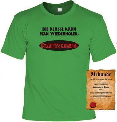 Lustiges Sprüche Shirt - Die Klasse kann man wiederholen - Partys nicht - Schüler T-shirt mit Urkunde - Farbe: hellgrün Bild 2