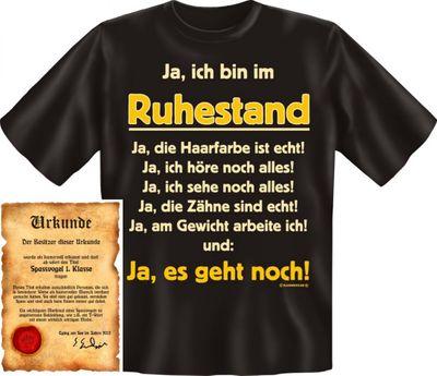 Lustiges T-Shirt für Rentner - Ja, ich bin im Ruhestand Ja, es geht noch - Funshirt als coole Geschenkidee, jetzt mit Urkunde  Bild 3