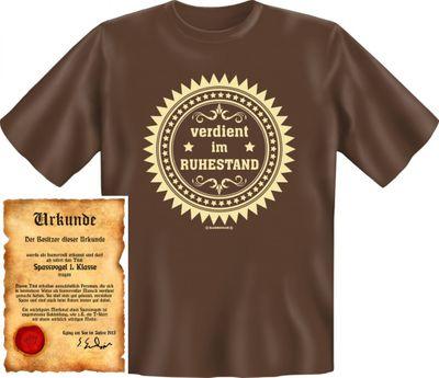 Lustiges T-Shirt für Rentner - Verdient im Ruhestand - Funshirt als coole Geschenkidee, jetzt mit Urkunde  Bild 3