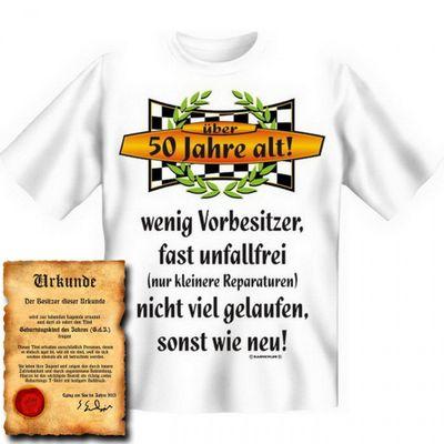 Lustiges T-Shirt zum 50. Geburtstag - über 50 Jahre alt ! - Funshirt als coole Geschenk Idee, jetzt mit Urkunde ! Bild 4