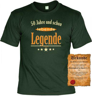 Lustiges T-Shirt zum 50. Geburtstag - 50 Jahre und schon lebende Legende ! - Funshirt als coole Geschenk Idee, jetzt mit Urkunde ! Bild 2