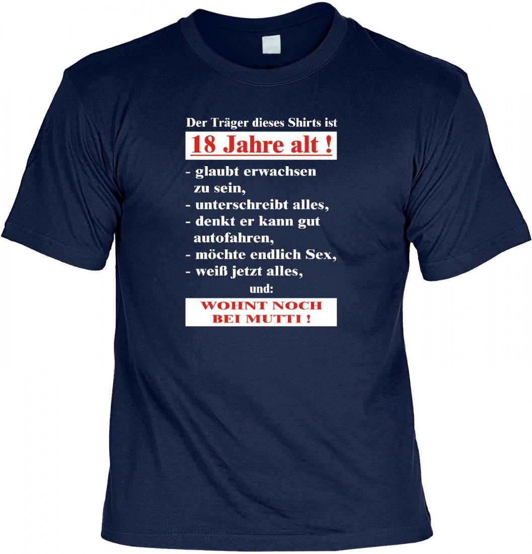 Witziges T Shirt 18 Geburtstag Der Träger Dieses T Shirts Ist 18