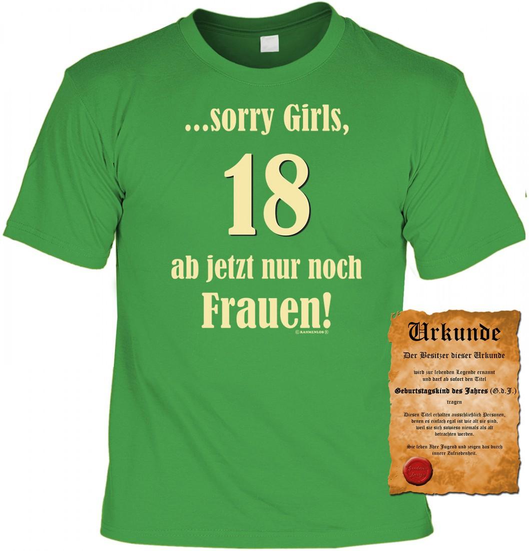 4795ebbafabe62 Witziges T-Shirt 18. Geburtstag - Sorry Girl`s - 18 Ab jetzt nur ...