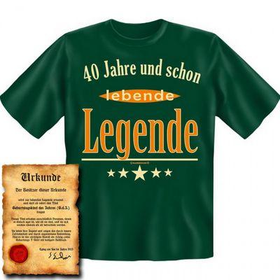 Lustiges T-Shirt zum 40. Geburtstag - 40 Jahre und schon lebende Legende ! - Funshirt als coole Geschenk Idee, jetzt mit Urkunde ! Bild 4