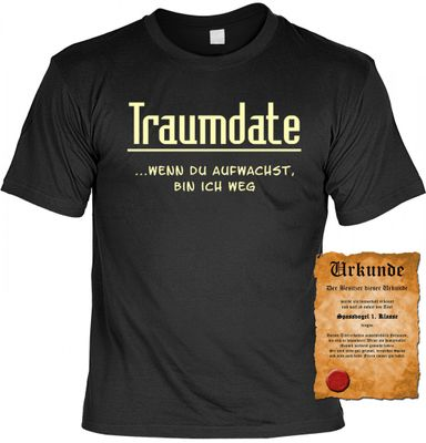 Lustiges Fun T-Shirt: Traumdate - Wenn du Aufwachst, bin ich weg ! - Geschenk mit Urkunde Spassvogel Bild 2