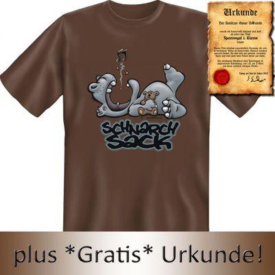 Lustiges Fun T-Shirt mit Bild: Schnarch Sack - Geschenk mit Urkunde Spassvogel Bild 3