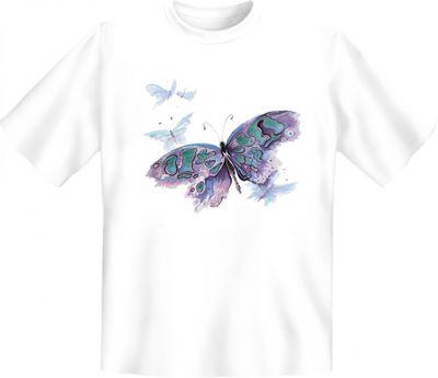 T-Shirt - Lila Schmetterling - Qualitäts Shirts mit Motiv für Romantiker ! - Auch als Geschenk sehr beliebt Bild 2