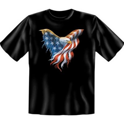 T-Shirt mit Motiv - Adler mit Stars and Stripes US Flagge - USA Shirt bedruckt Bild 2