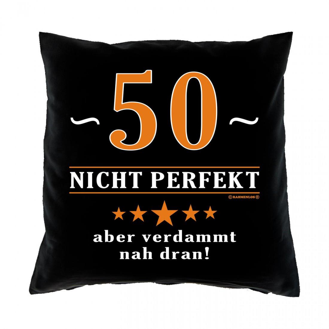 kissen 40x40 50 jahre nicht perfekt aber nah dran geschenk 50 geburtstag funwarestore. Black Bedroom Furniture Sets. Home Design Ideas
