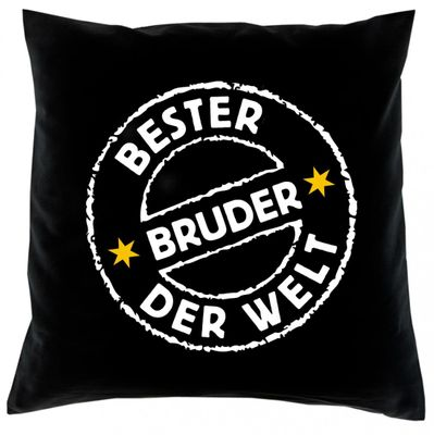 Kissenbezug Sofakissen Hülle: - Bester Bruder der Welt ! Stempel - Top Geschenk Famile Bild 2