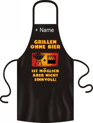 Grillschürze mit Namensaufdruck - Grillen ohne Bier ist möglich - Aber nicht sinnvoll - Kittel Schurz mit lustigen Motiven auch als Geschenk
